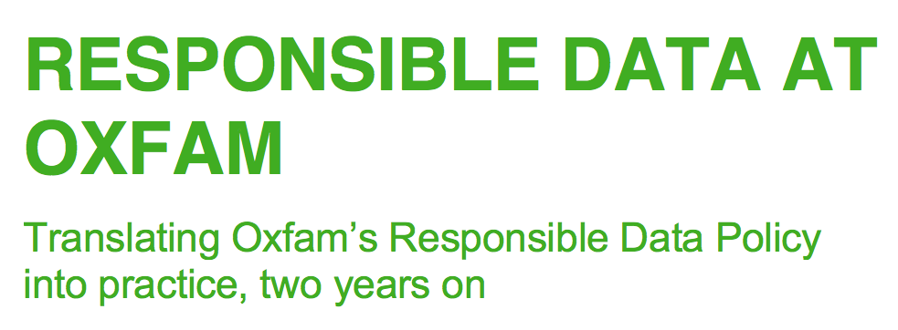 Responsible Data Implementation at Oxfam