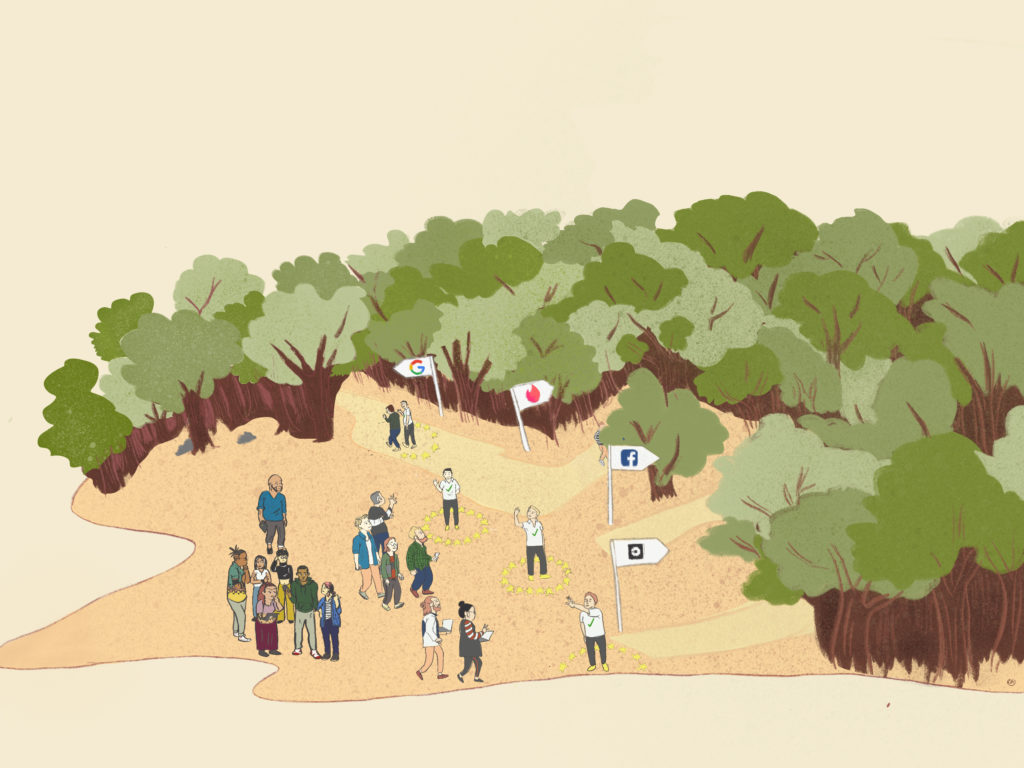 a group of people navigating a forest, which represents their data rights